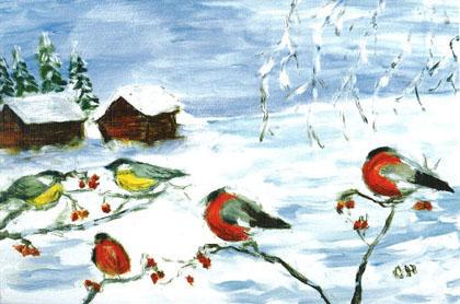En kall vinterdag efter ett original målat med munnen av Olle Holmgren